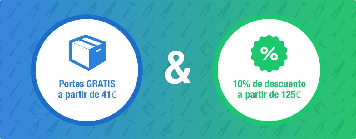 Portes gratis a partir de 41€ y 10% de descuento a partir de 125€
